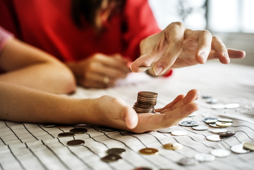 Counting Money. Senior Care Center